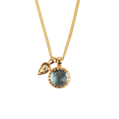 Blue Topaz & Diamond 'Garden' Petal Necklace