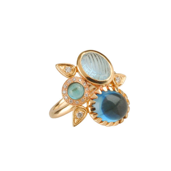 EC One Blue Topaz & Diamond 'Garden' cluster Petal Ring gold