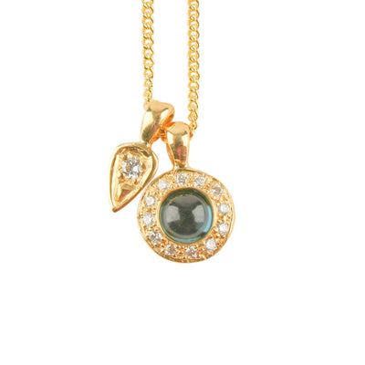 Blue Tourmaline & Diamond 'Garden' Petal Necklace