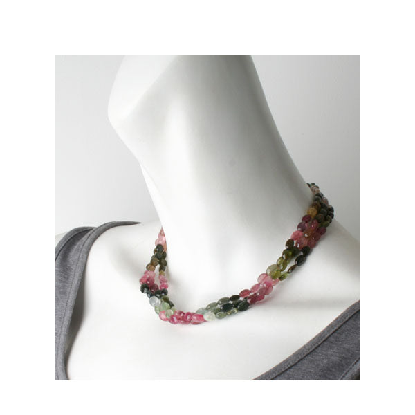 Faceted Oval Tourmaline Three Strand Necklace