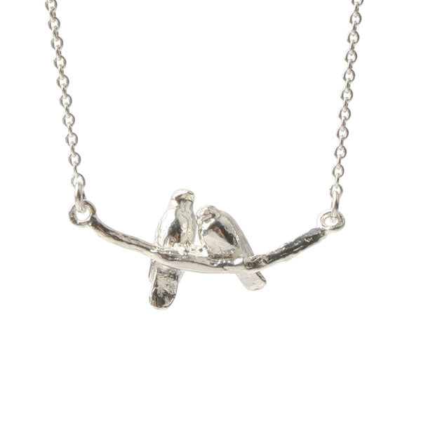 Silver Turtle Doves Necklace