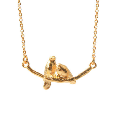 Cosy Lovebirds Necklace Gold Plated