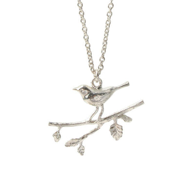 EC One Alex Monroe Silver Warbler on a Branch Necklace