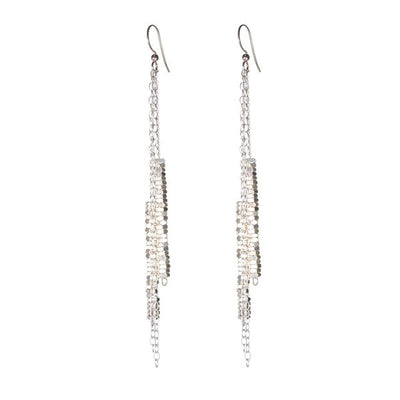 EC One Alice Menter Katie Silver Chain and Nut Drop Earrings