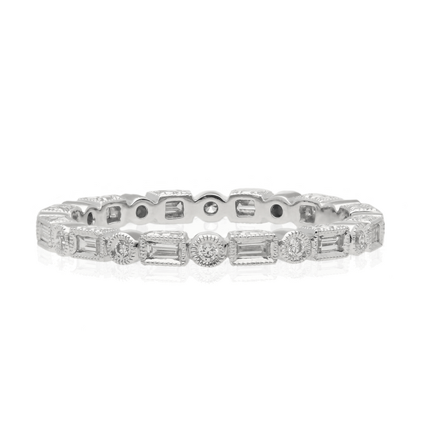 EC One Ungar and Ungar Rectangular & Round Diamond Eternity Band Wedding Ring