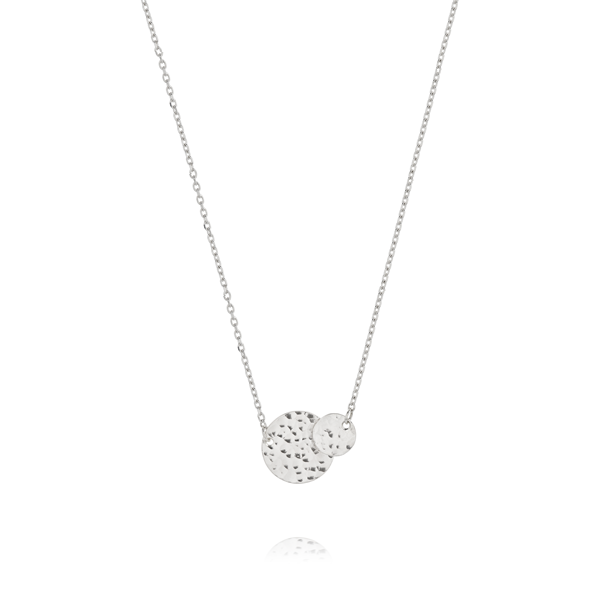'Beat' Silver Double Disc Necklace
