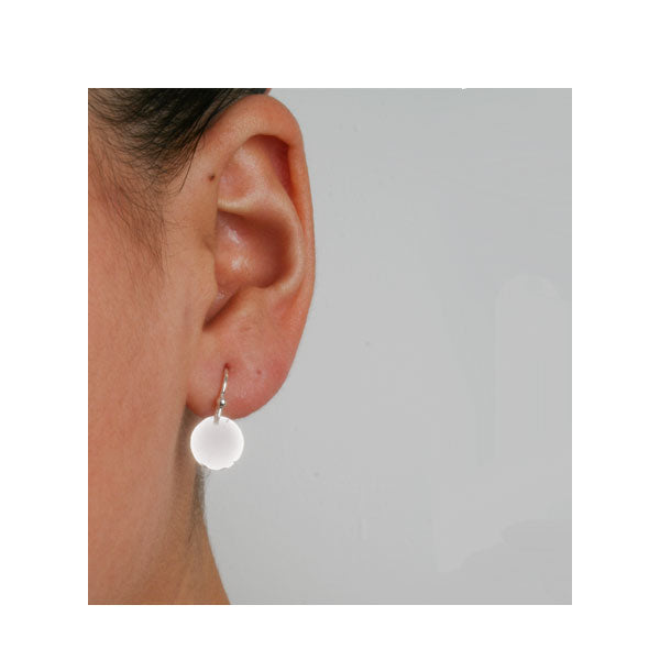 EC One 'Beat' recycled Silver Disc Drop Earring