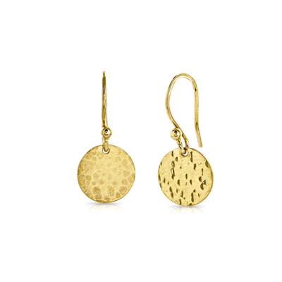 'Beat' Gold Disc Drop Earring