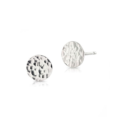 'Beat' Silver Disc Stud Earrings