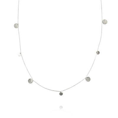 'Beat' Long Spaced Silver Disc Necklace