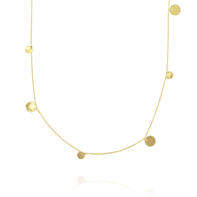 'Beat' Long Spaced Gold Disc Necklace