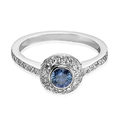 EC One Medium Sapphire & Diamond Halo Emma Ring