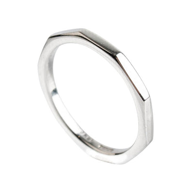 Flat-Sided White Gold Ring