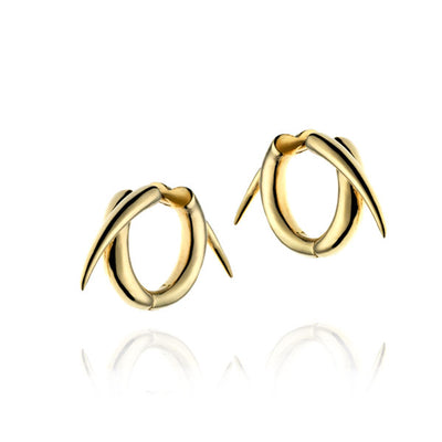 'Tusk' Barbed Wire Hoop Gold Earrings