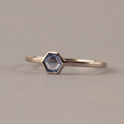 Blue Ring with Hexagonal Blue Sapphire 18ct White Gold