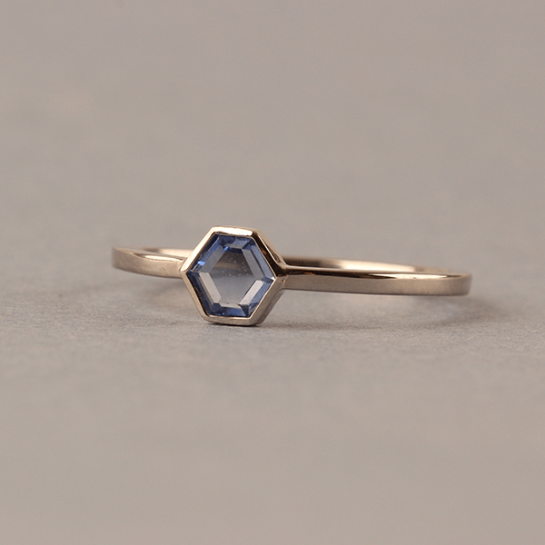 ELLIE AIR x EC ONE - Blue Ring with Hexagonal Blue Sapphire 18ct White Gold