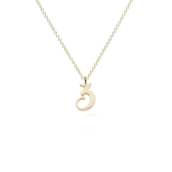 "EC One recycled Gold Number ""3"" charm pendant necklace"