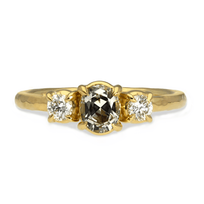 Alice Blue-Grey Sapphire and Diamond Engagement Ring Yellow Gold