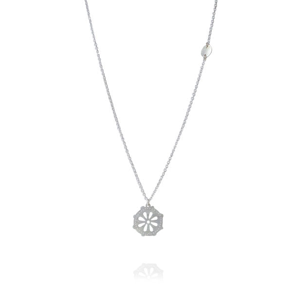 "Floral Disc ""Lovit"" Silver Necklace"