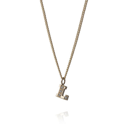 "EC One Diamond ""L"" recycled Gold Letter pendant Necklace"