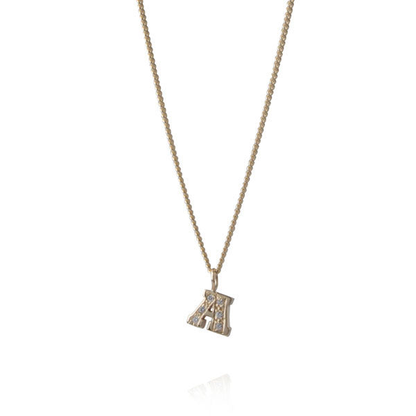 "Diamond ""A"" Gold Letter Necklace"