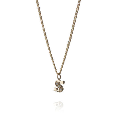 "EC One Diamond ""S"" recycled Gold Letter pendant Necklace"