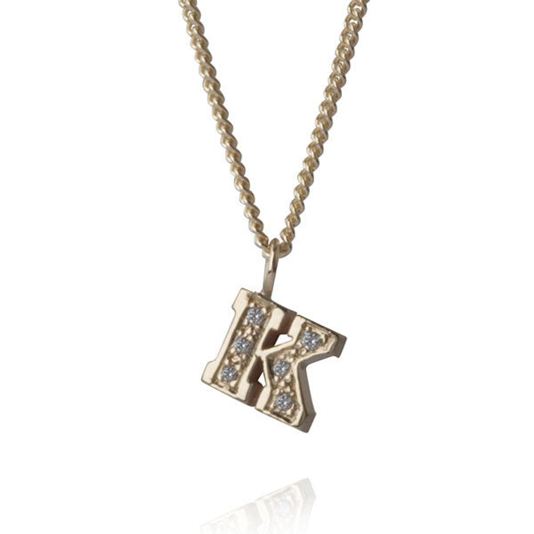 "EC One Diamond ""K"" recycled Gold Letter pendant Necklace"