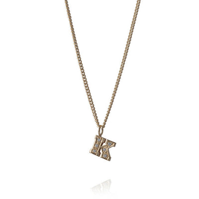 "Diamond ""K"" Gold Letter Necklace"