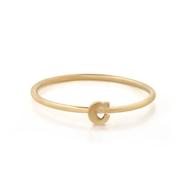 "EC One Mini Letter ""C"" recycled Gold Stacking Ring"