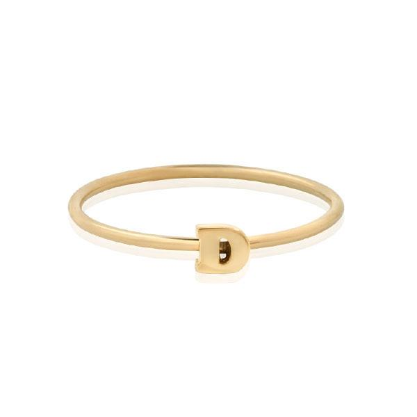 "EC One Mini Letter ""D"" recycled Gold Stacking Ring"