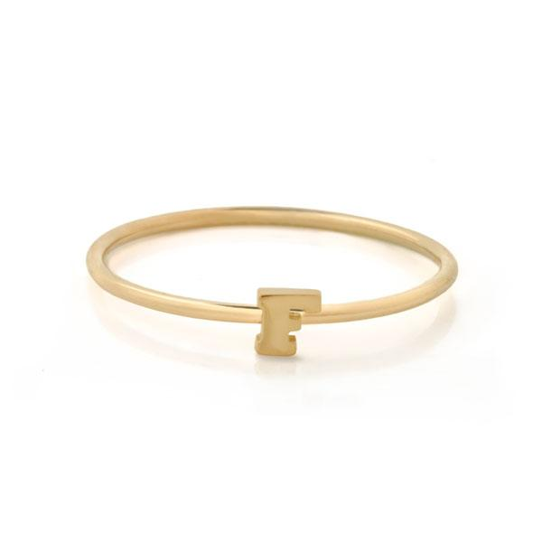 "EC One Mini Letter ""F"" recycled Gold Stacking Ring"