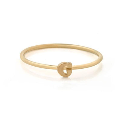 "EC One Mini Letter ""G"" recycled Gold Stacking Ring"