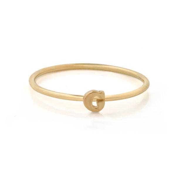 "Letter ""G"" Gold Stacking Ring"