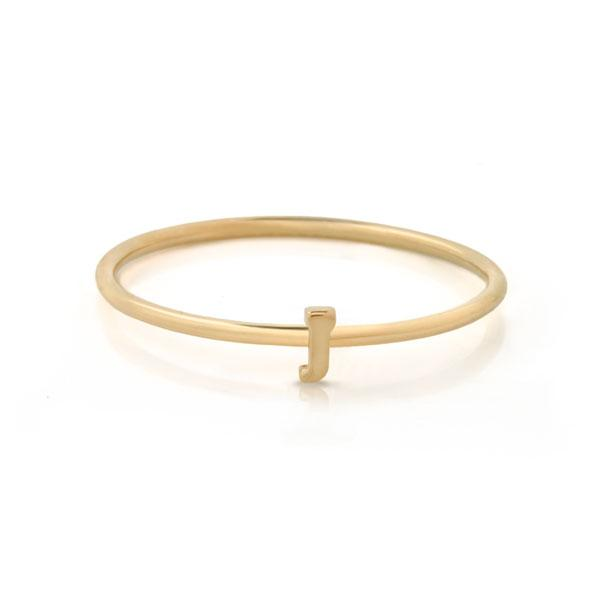"EC One Mini Letter ""J"" recycled Gold Stacking Ring"