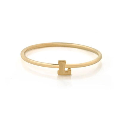 "EC One Mini Letter ""L"" recycled Gold Stacking Ring"