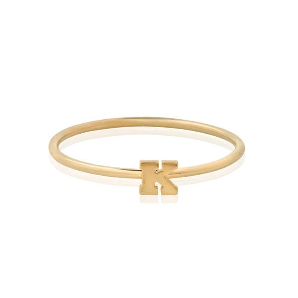 "EC One Mini Letter ""K"" recycled Gold Stacking Ring"