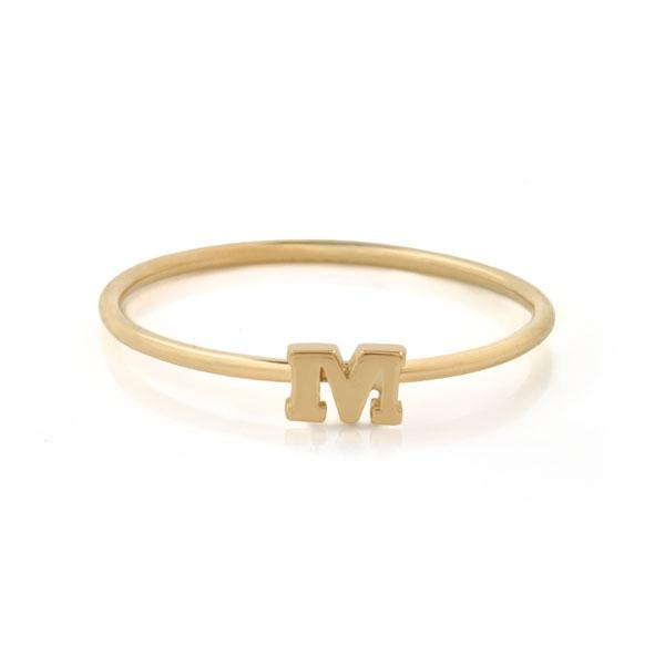 "EC One Mini Letter ""M"" recycled Gold Stacking Ring"