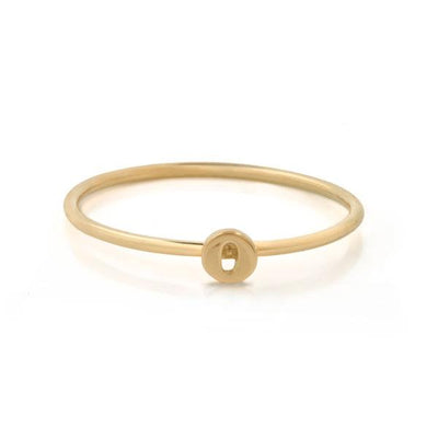 "EC One Mini Letter ""O"" recycled Gold Stacking Ring"