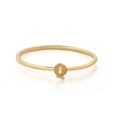 "福利彩票查询一封迷你信""Q"" recycled 金  Stacking Ring"