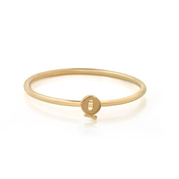 "EC One Mini Letter ""Q"" recycled Gold Stacking Ring"