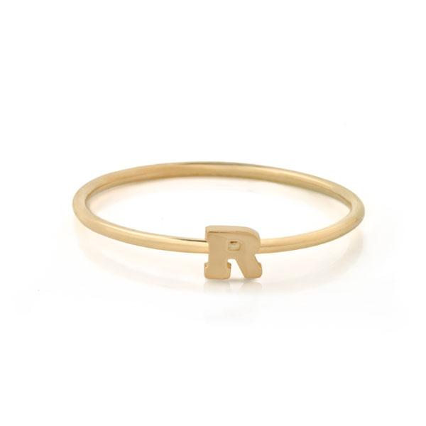 "Letter ""R"" Gold Stacking Ring"