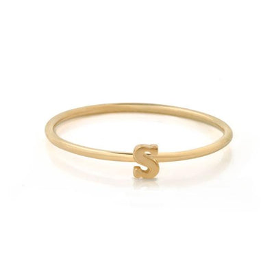 "EC One Mini Letter ""S"" recycled Gold Stacking Ring"