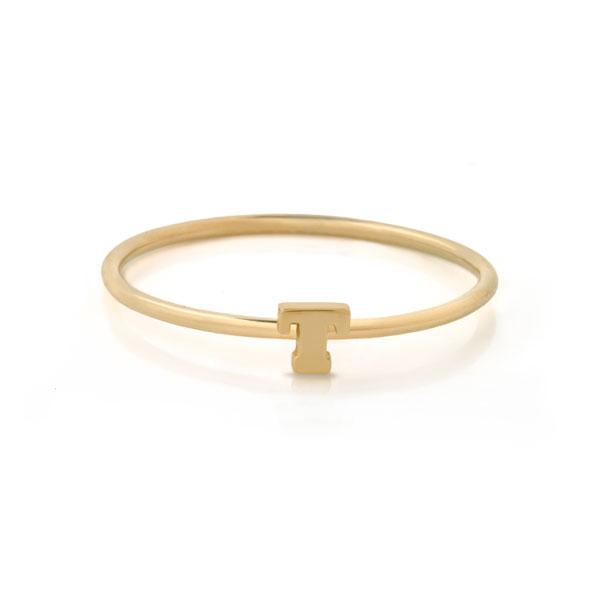 "EC One Mini Letter ""T"" recycled Gold Stacking Ring"