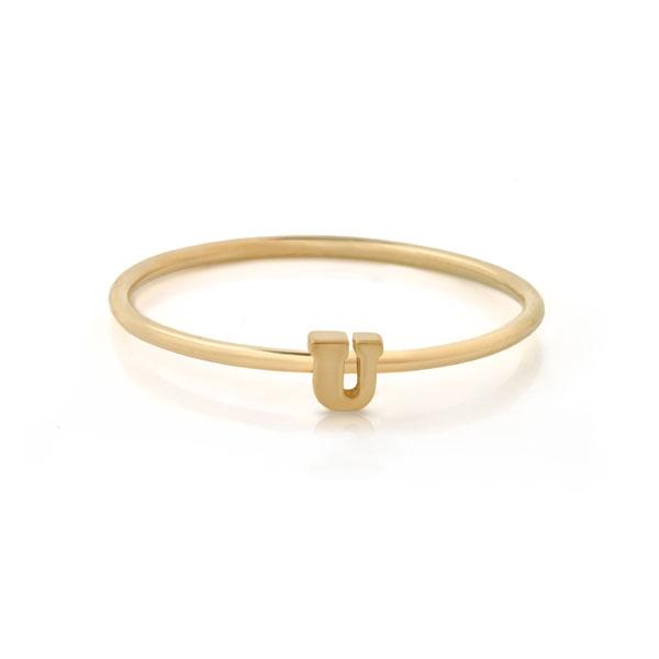 "Letter ""U"" Gold Stacking Ring"