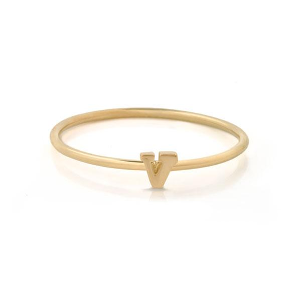"EC One Mini Letter ""V"" recycled Gold Stacking Ring"