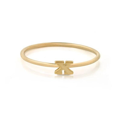 "EC One Mini Letter ""X"" recycled Gold Stacking Ring"