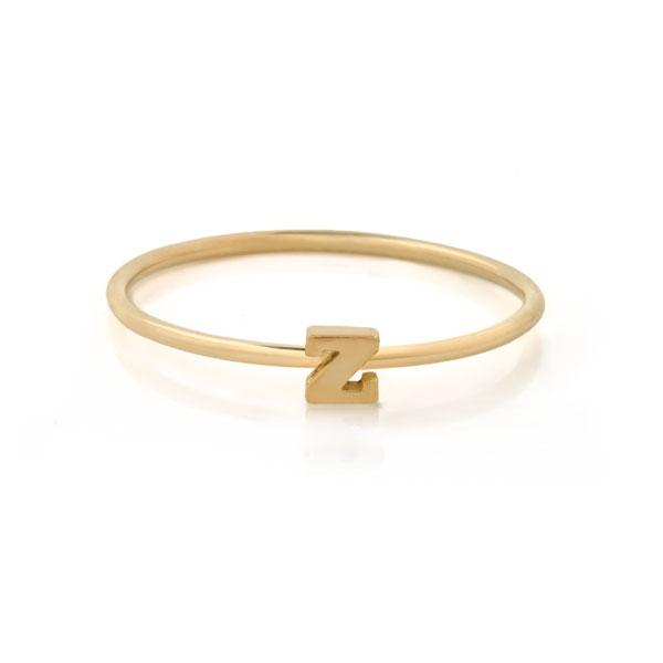 "EC One Mini Letter ""Z"" recycled Gold Stacking Ring"