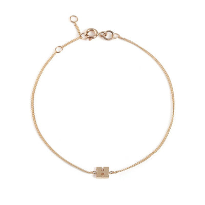 "EC One Mini Letter ""H"" recycled Gold Bracelet"