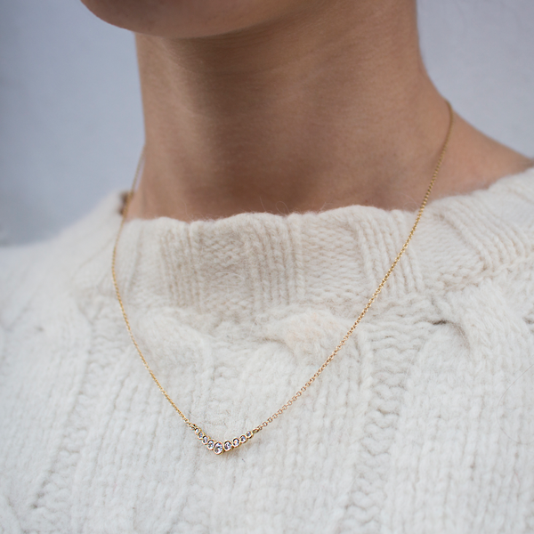 """Dainty"" Yellow Gold Diamond Bar Necklace"