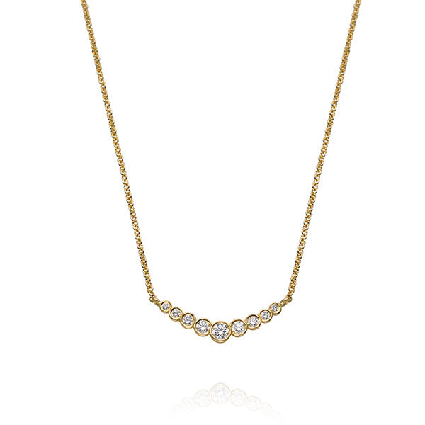 "EC One ""Dainty"" Recycled Yellow Gold Diamond Bar Necklace"